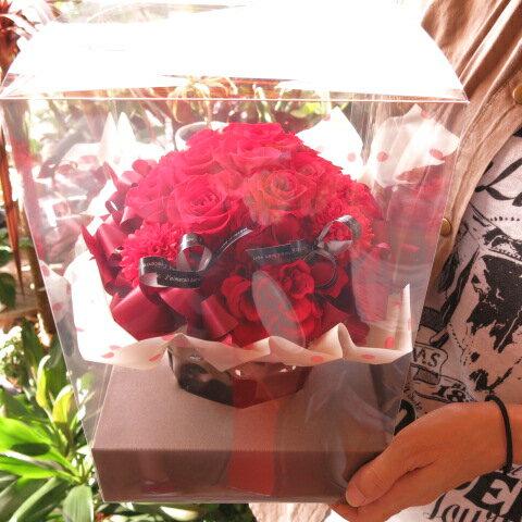 還暦祝い 赤バラ フラワーギフト プリザーブドフラワー ケース付き 赤バラいっぱい プリザーブドフラワー ◆還暦祝いプレゼント・記念日の贈り物におすすめのフラワーギフト
