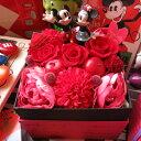 母の日 ミッキー ミニー入り 花  フラワーギフト 箱を開けてサプライズ ボックス プリザーブドフラワー ノーマル ミッキー ミニー
