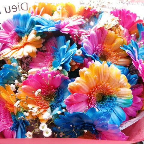 レインボーガーベラ花束レインボーガーベラ25本花束サプライズなフラワーギフトレインボーガーベラ