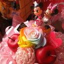 誕生日プレゼント ミッキー ミニー入り 花 ディズニー フラワーギフト ラテ レインボーローズ プリザーブドフラワー入り バースデーA ミッキーマウス ミニーマウス ケース付き