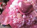 ハート入り 花束風 枯れないアートフラワー使用 ピンクいっぱい ハートバルーン入りギフト
