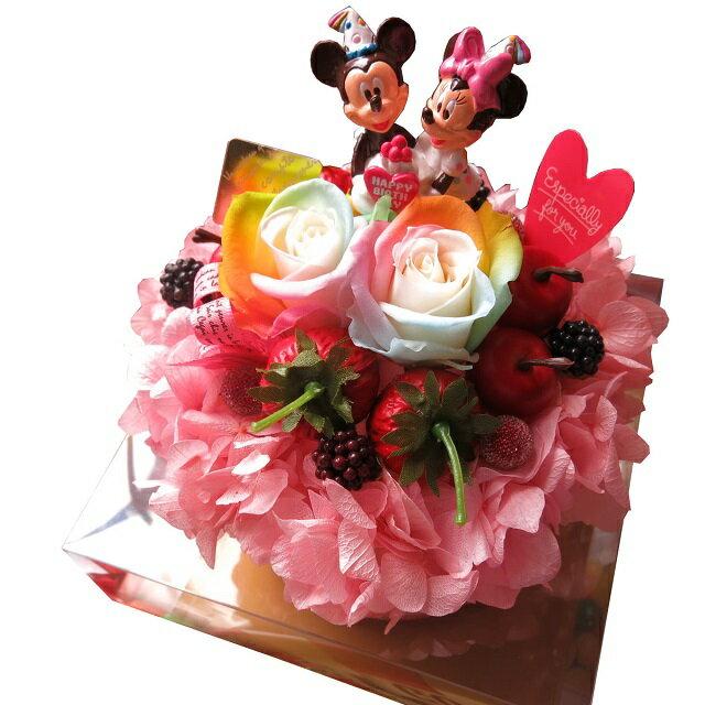 誕生日プレゼント友達彼女ディズニー花レインボーローズフラワーケーキプリザーブドフラワー入りケース付き