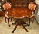 イタリア製 輸入家具 美しい象嵌の円形テーブルセット UV mxrd ダイニングテーブル 100cm 円形 丸形 5点