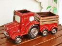 輸入雑貨 フラワーポット トラクター 赤 プランター 鉢カバー フラワーベース 陶器 トラック カン...