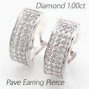 ショッピング正方形 イヤリング ダイヤモンド ピアス レディース パヴェ ゴージャス 1.0カラット スクエア 10金 10k k10 ゴールド