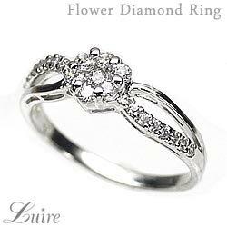 【送料無料】花 ダイヤリング フラワーリング K18 ゴールド 天然ダイヤモンド ギフト 誕生日 記念日 プレゼント 彼女 指輪 自分ご褒美 結婚指輪0824カード分割05P01Oct16 スタジアム型フラワーデザインのダイヤモンドリング.k18WG