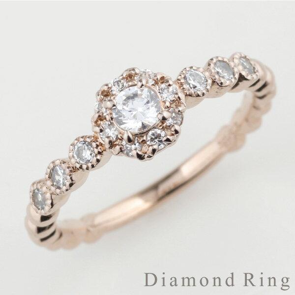 K18 ゴールド フラワー アンティーク風 ダイヤモンドリング k18ピンクゴールド 誕生日 指輪 自分ご褒美 【K18PG】 【送料無料】