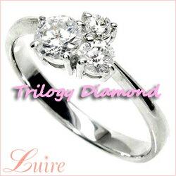 18K K18ゴールド 【送料無料】ダイヤモンド0.50ct SIクラスK18WG 天然ダイヤモンド トリロジー 婚約指輪 誕生日 プレゼント 彼女0824カード分割05P01Oct16 上質際立つスリーストーンダイヤリング☆SI-クラス.k18WG