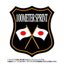 100メートル走エンブレム(100meter sprint)日本国旗デザイン!世界大会や五輪、日本代表応援ワッペン