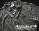 3333-5新品★アバクロンビー&フィッチ Abercrombie&Fitch★胸ロゴヘンリーTシャツ★グレー★MENS