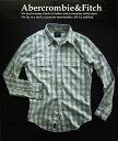 4862新品★アバクロンビー&フィッチ Abercrombie Fitch★ヴィンテージ胸ロゴチェックシャツ2801★水色白★S★MENS