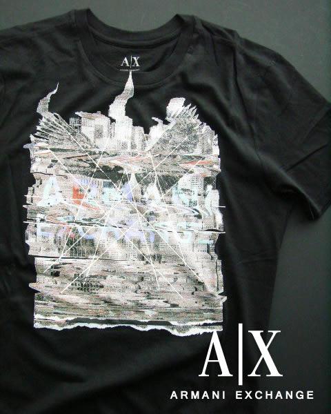 6357-63新品★アルマーニエクスチェンジ ARMANI EXCHANGE★デザインロゴTシャツ★黒★MENS★