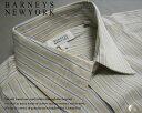 459-60新品★バーニーズ ニューヨーク BARNEYS NEWYORK★ストライプドレスシャツ★ベージュ系★MENS