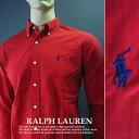 1255-6新品★ラルフローレン RALPH LAUREN★胸ロゴワンポイントシャツ★赤★MENS★