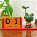 バリ島のとっても可愛い木彫り人形カエルの万年カレンダーアジアン雑貨/バリ雑貨/エスニック/木彫り/アジア雑貨/木彫り人形/おもちゃ/アニマル/FROG/かえる/蛙