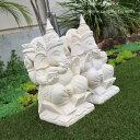 石彫り オブジェ ガネーシャ 1体 H36cm石像 神像 置物 置き物 飾り ディスプレイ エス
