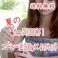 夏のたっぷり200杯!コーヒー豆500g×4のセット(500g×4)