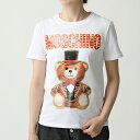 【エントリーでポイント最大7倍!15日21時〜23時59まで】LOVE MOSCHINO ラブモスキーノ V0708 0540 テディベア×ロゴ クルーネック 半袖 Tシャツ カットソー ラメ 3001 レディース