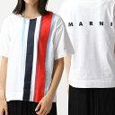 MARNI マルニ THJEL32EPC SCQ21 GLOSSY JERSEY クルーネック 半袖 Tシャツ カットソー ストライプ×ロゴ STR93/PORT-RED レディース