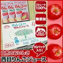 秋田 西目 りんごジュース ストレート 無添加 100% (10パック)【お歳暮/ジュース/飲料/詰