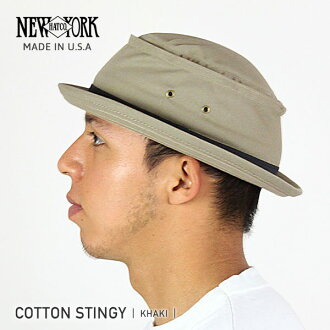 NEW YORK HAT Cotton Stingy (New York Hat cotton of cotton and スティンギー pork pie hats mens Hat khaki women's #3061)