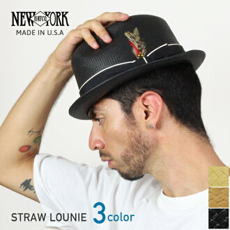 NEW YORK HAT Straw Louie (the straw hat men's women's New York Hat ストロールイ Straw Hat Black 2124)