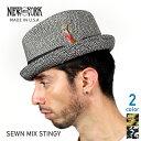 NEW YORK HAT ニューヨークハット Sewn Mix Stingy ストローハット [全2色] ソウンミックススティンギー ブラック タン ベージュ ごま塩 メンズ レディース 男性用 女性用 中折れ 麦わら帽子 #2269 送料無料 楽天 通販 【RCP】