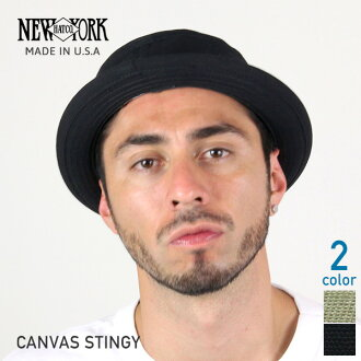 NEW YORK HAT Canvas Stingy (New York Hat campus スティンギー cotton pork pie Hat Black mens ladies Hat # 3014)