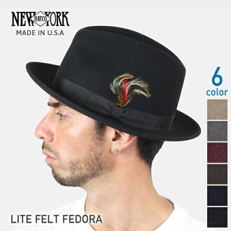 NEW YORK HAT Lite Felt Fedora (the men's Made in USA New York Hat light felt Fedora Hat Black #5319)