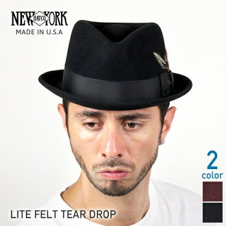 NEW YORK HAT Lite Felt the Tear Drop (the Hat Black mens ladies New York Hat caps Stetson hats #5329)
