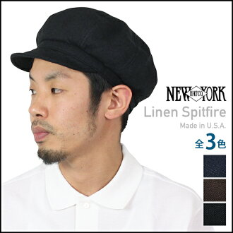 NEW YORK HAT Linen Spitfire (hat New York Hat newsboy of linen and hemp women's black men's #6225)