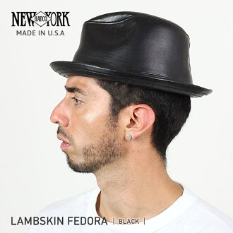 NEW YORK HAT Lambskin Fedora (New York Hat lambskin Fedora Hat Black mens ladies Hat #9204)