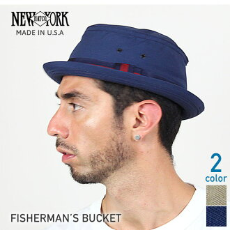 NEW YORK HAT Fisherman's Bucket (the New York Hat フィッシャーマンズバ KET pork pie Hat Navy mens Womens Hat #3025) 10P10Nov13