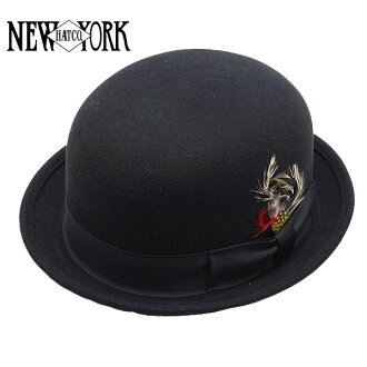 NEW YORK HAT Laurel Derby (the Hat Black mens ladies New York Hat Laurel Derby ウールボーラー Hat #5002)