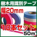 【10本セット】樹木用識別テープ 20mm 森林等に 樹木テープ 7色よりお選び下さい 登山のマーキ