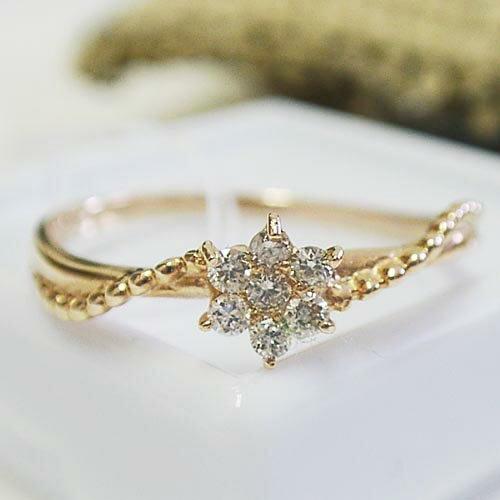 0.1ct ダイヤモンド K18 ピンクゴールド ダイヤモンド リング【_包装】【smtb-TD】【saitama】