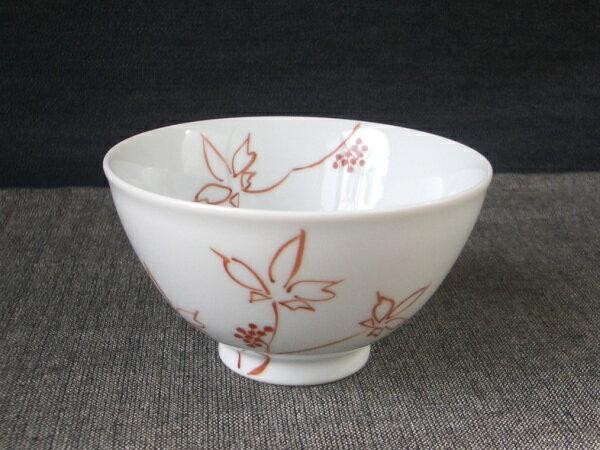 【名入れ・名前入り 12字以内】 伊万里焼 うこぎ(赤) ご飯茶碗