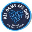 訳あり パタゴニア ブルーハート ダム キャンペーン ステッカー Patagonia ALL DAMS ARE DIRTY BLUE HEART シール 円 丸 ネコポス 新品