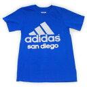 ショッピング即納 ワケアリ アディダス サンディエゴ Tシャツ カレッジロイヤル ADIDAS SAN DIEGO TEE 青 薄灰色 白 ブルー ご当地 T-SHIRT ティシャツ シティー メンズ 男性用 半袖 新品 即納 訳有り S