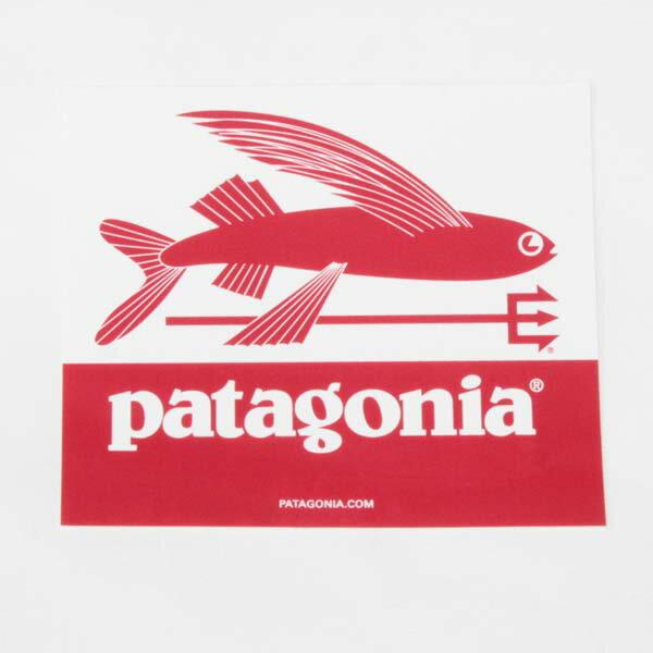 パタゴニア トライデントフィッシュ ステッカー 白 赤 PATAGONIA TRIDENT FISH STICKER ホワイト レッド 新品 ジェフ・マクフェトリッジ フライングフィッシ FLYING FISH 飛魚 シール 正規品 即納