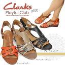クラークス レディース サンダル プレイフル クラブ 432F 本革 パイソン型押し レザー バックル Clarks Playful Club
