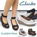 クラークス レディース サンダル クラリーヌプリマ 829F 626F 本革 ウェッジソール 厚底 パンチングレザー Clarks CLARENE PRIMA