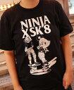 NINJA X Tシャツ ニンジャエックス Original SK8 two men スノボー SKATE SK8 PUNK HIPHOP SURF