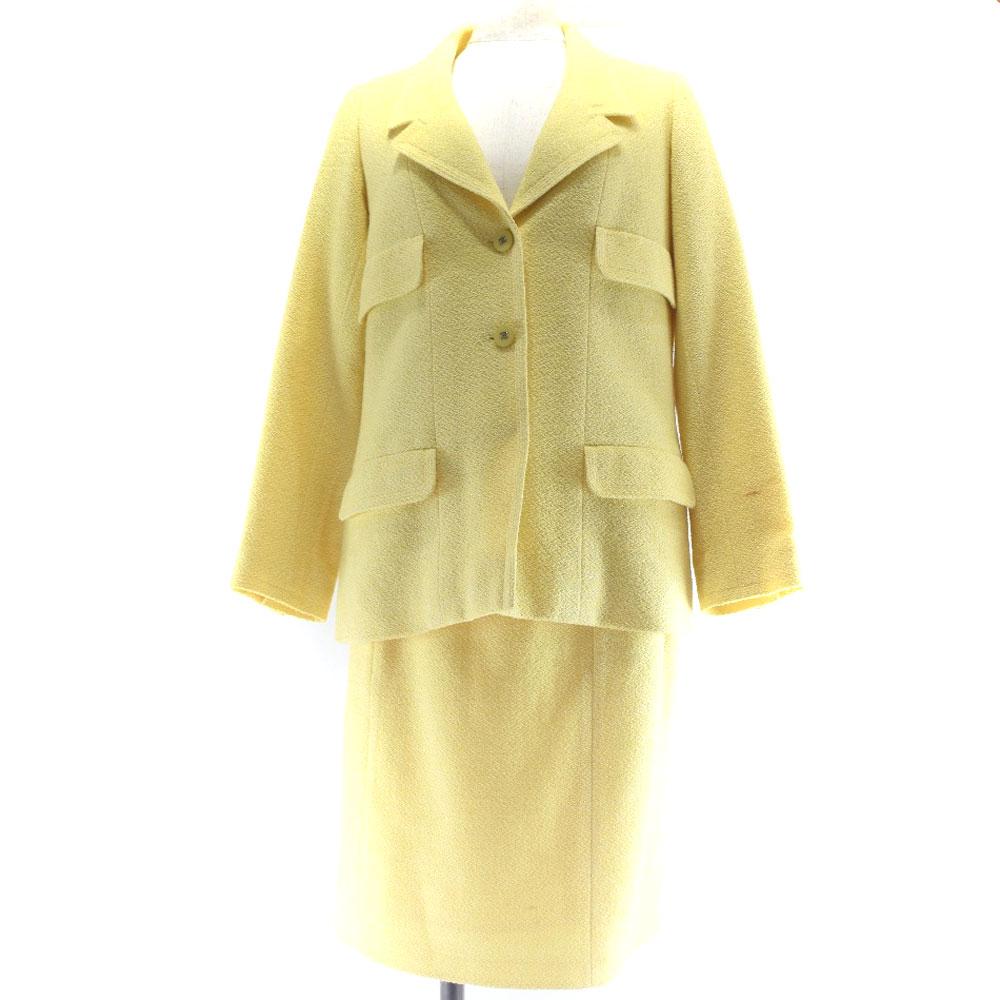 【CHANEL】シャネル スーツ P10083V06212/AC483 ウール×コットン 黄色 レディース セットアップ【中古】A-ランク