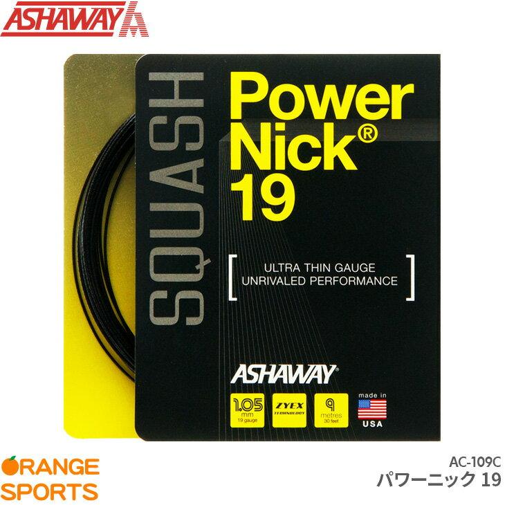 ASHAWAY アシャウェイ パワーニック19 Power Nick 19 AC-109C スカッシュ ストリング ガット ゲージ1.05mm 長さ9m
