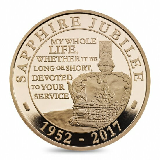 新品未使用 2017 イギリス 39.94g (5ポンド) プルーフ 金貨 サファイアジュビリー