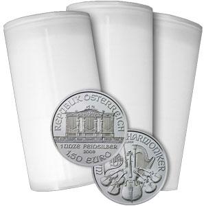 2015年製、新品未使用ウィーン銀貨1オンス100枚セット オーストリア造幣局のケース付き