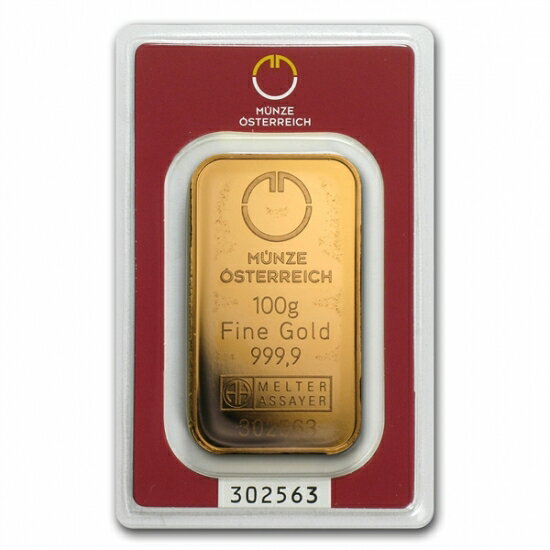 100グラム オーストリア造幣局 ゴールドバー .9999%