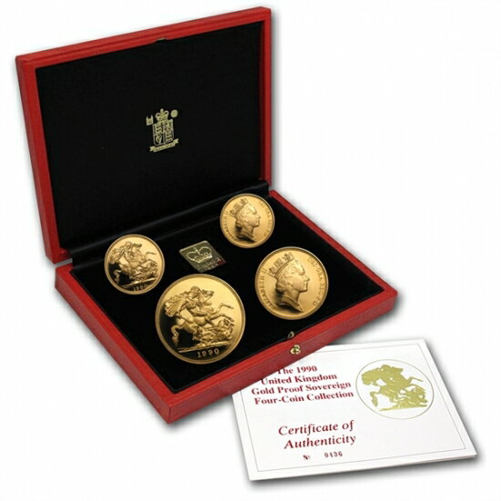 Great Britain 1990 Sovereign Gold 4 Coin Proof Set