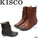 ショッピングブーツ レディース キスコ 9535 KISCO レースアップショートブーツ ブラック ダークブラウン 本革 婦人靴 レディース